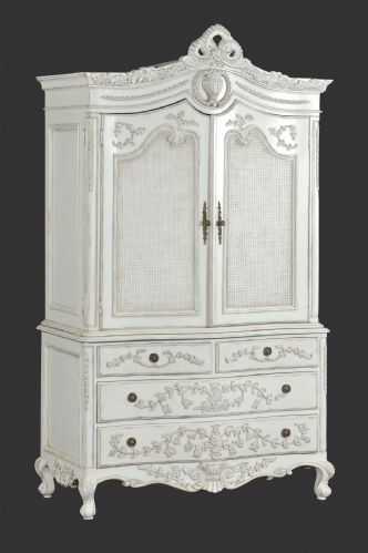 Rattan Linen Press Cabinet/Wardrobe in Distressed White